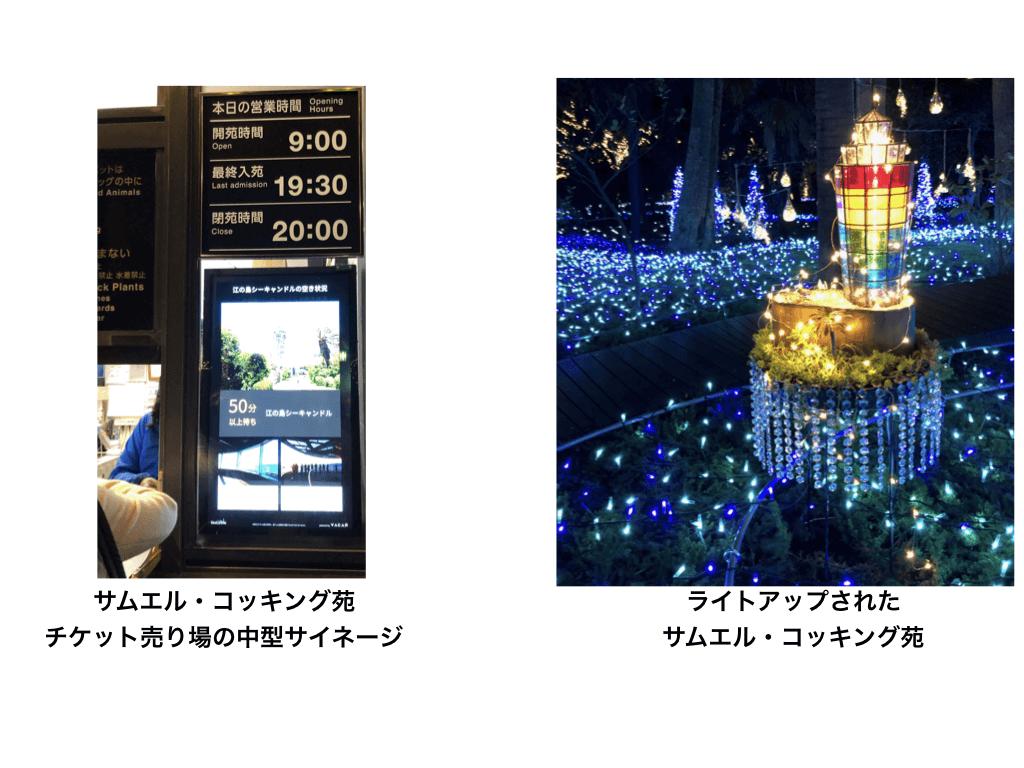 江の島シーキャンドルサイネージとライトアップ